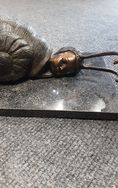 Artist Bronze Snail Child On Marble Rectangle Base